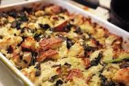 Blue Cheese Spinach Bread Pudding